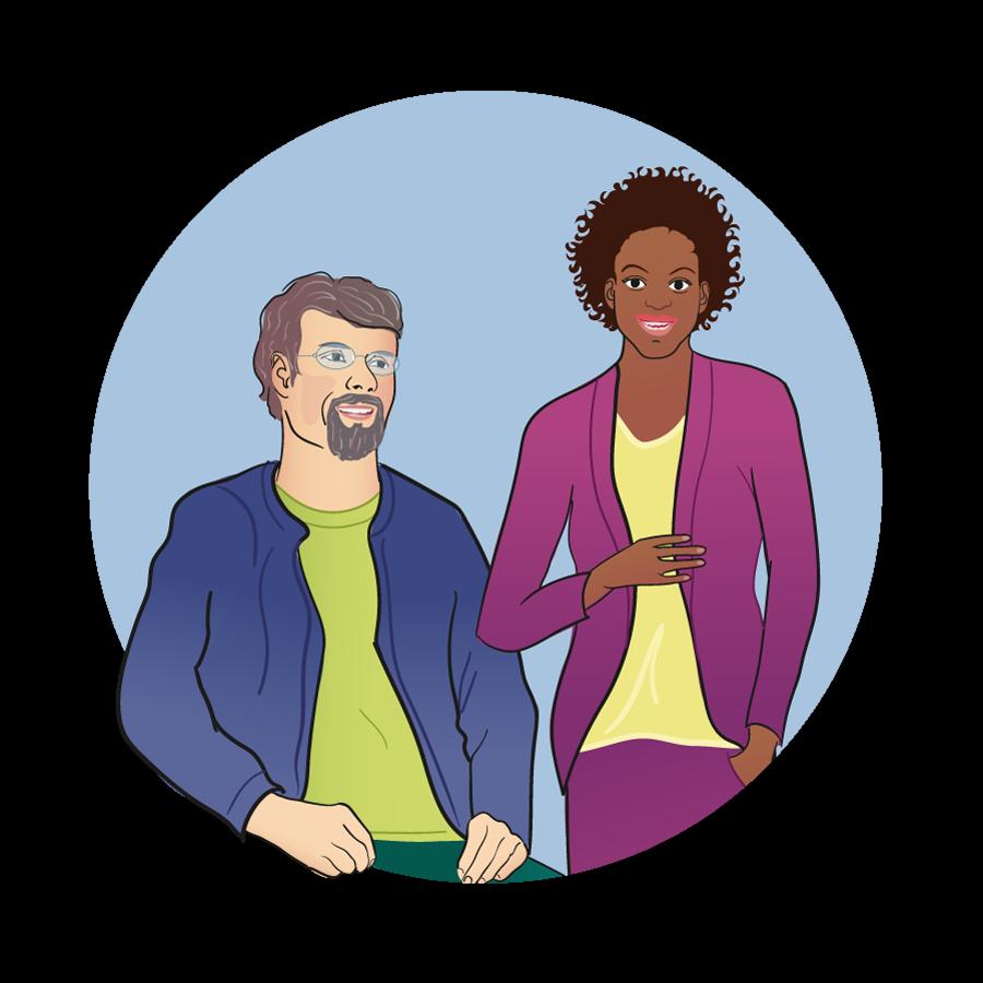 Målgruppsbild för vuxna patienter som visar en sittande man och stående kvinna